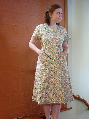 Decades of Style 1944 House Dress Nasturtium Fabric Sewing