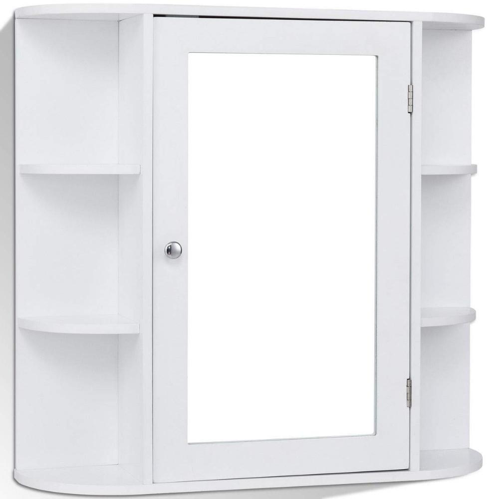 Amazon Com Tangkula Bathroom Cabinet Single Door Wall Mount With Mirror Organi Bathroom Storage Cabinet Wall Mounted Bathroom Cabinets Bathroom Mirror Cabinet