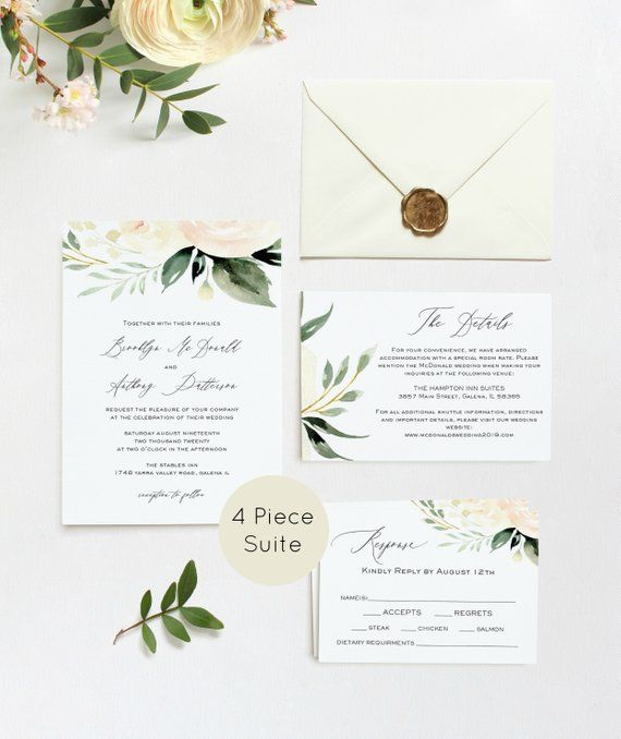 Cheap Print Your Own Wedding Invitations: Greenery Wedding Invitation, Blush Greenery, Wedding