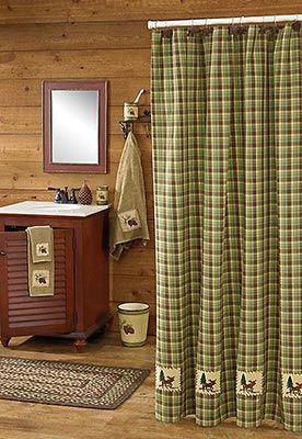 Juniper Moose Shower Curtain Lodge Bathroom Decor Rustic Cabin