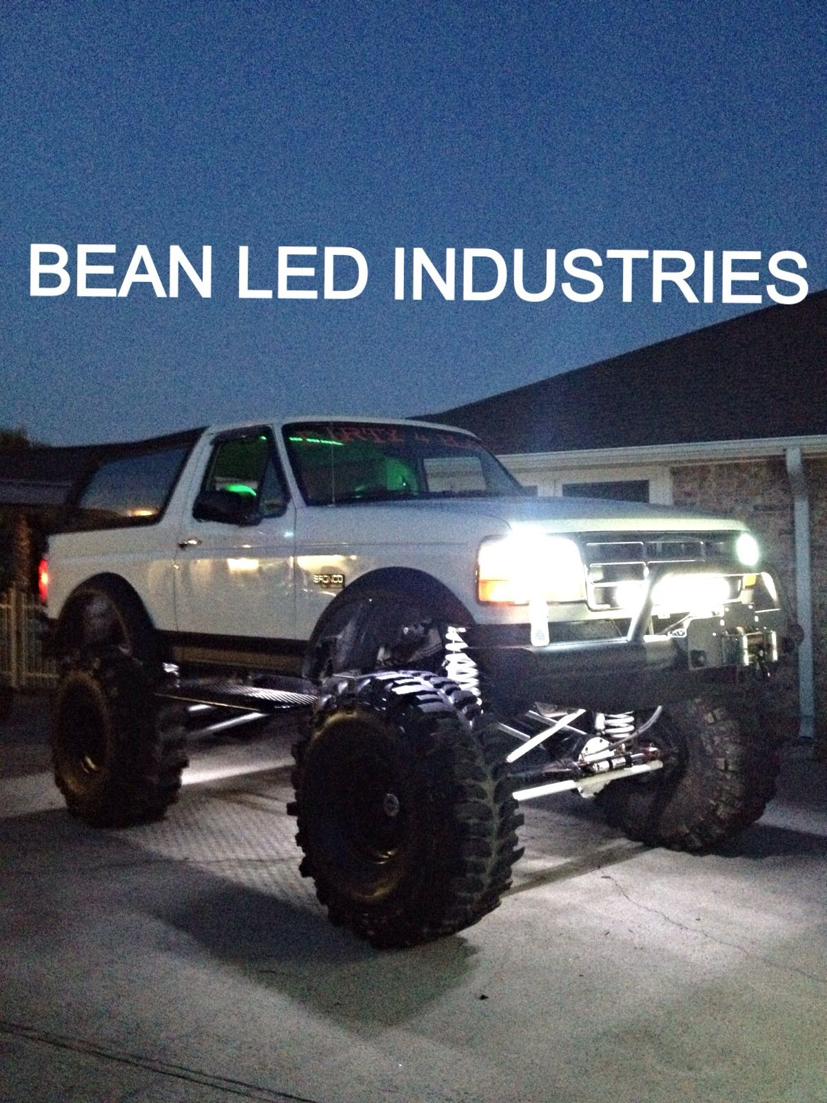 Lifted Ford Bronco With A 31 Xs In The Grill Flexible Led Strips
