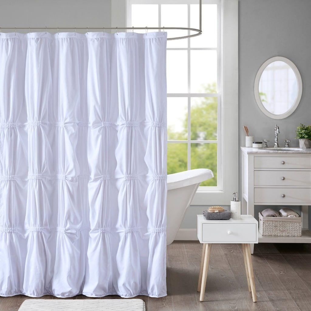 Intelligent Design Quinn Pleated Shower Curtain Fabric Shower