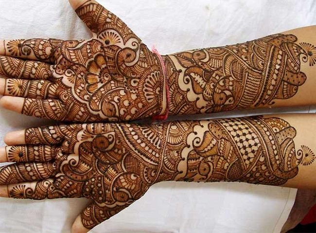 Mehndi Designs For Hands For Engagement : Traditional gujarati engagement mehndi art ideas for party