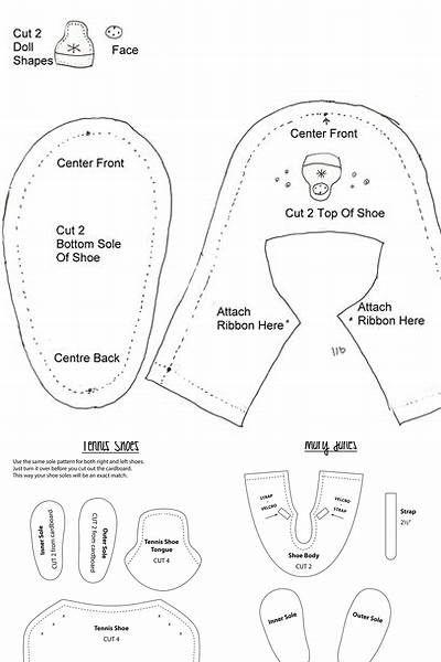 14.5 Inch Doll Pre-cut Shoe Sole SHAPE 2 Black//White 2mm Foam and Chipboard