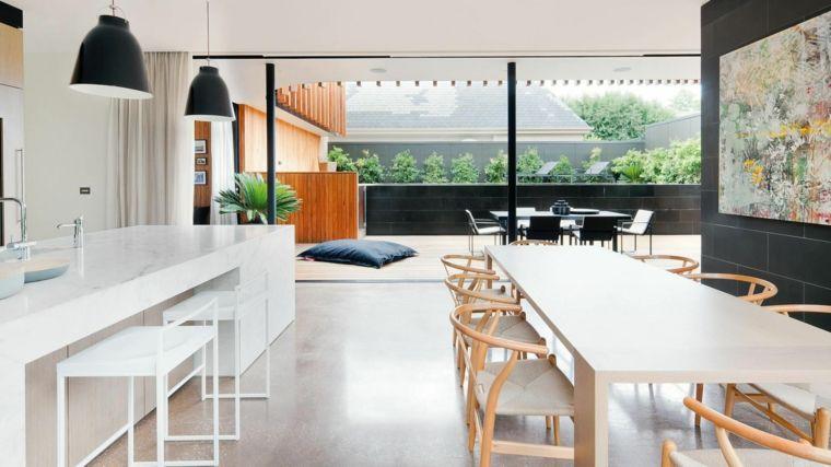 come arredare ambiente unico cucina soggiorno con mobili bianchi e ...