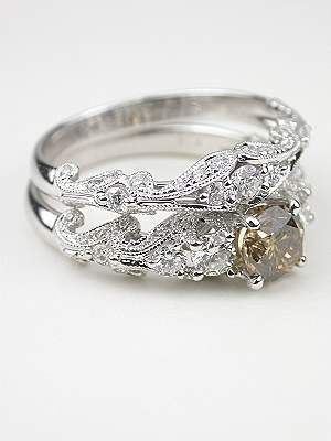 Swirling Diamond Wedding Ring RG1750wbyt Champagne diamond
