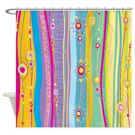 Funky Stripes Shower Curtain On CafePress