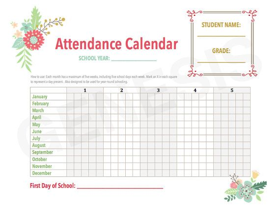 Attendance Calendar Homeschool Planner Pages By Genesisprintables