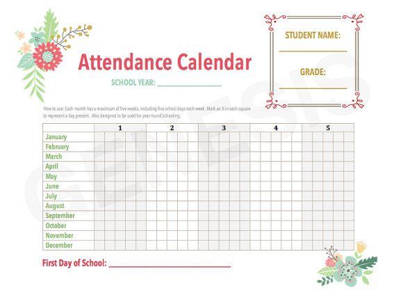 Attendance Calendar Homeschool Planner Pages By Genesisprintables