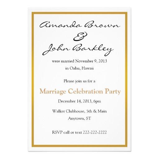 Post Wedding Marriage Celebration Party Invitation Zazzle Com Wedding Party Invites Wedding Celebrations Party Post Wedding