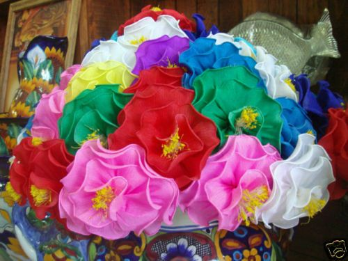 Mexican Paper Flowers Bouquet Of 12 Made In Mexico With