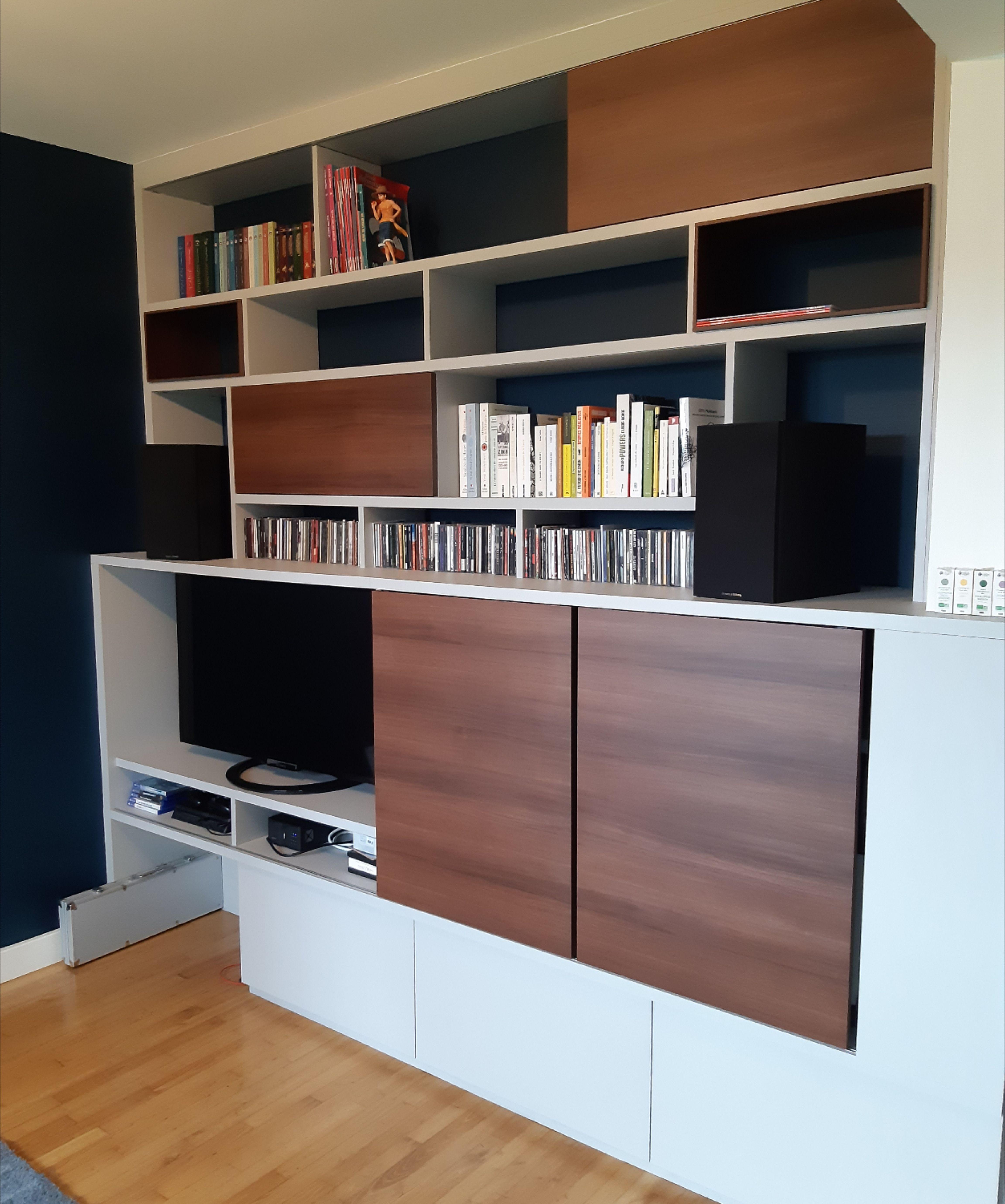 Bibliotheque Tv En 2020 Decoration Canape Gris Meuble Cache Tv Bibliotheque Tv
