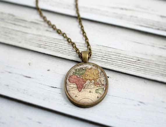 This 24 inch necklace features a 1 inch pendant with an antique this 24 inch necklace features a 1 inch pendant with an antique style world map high gumiabroncs Choice Image