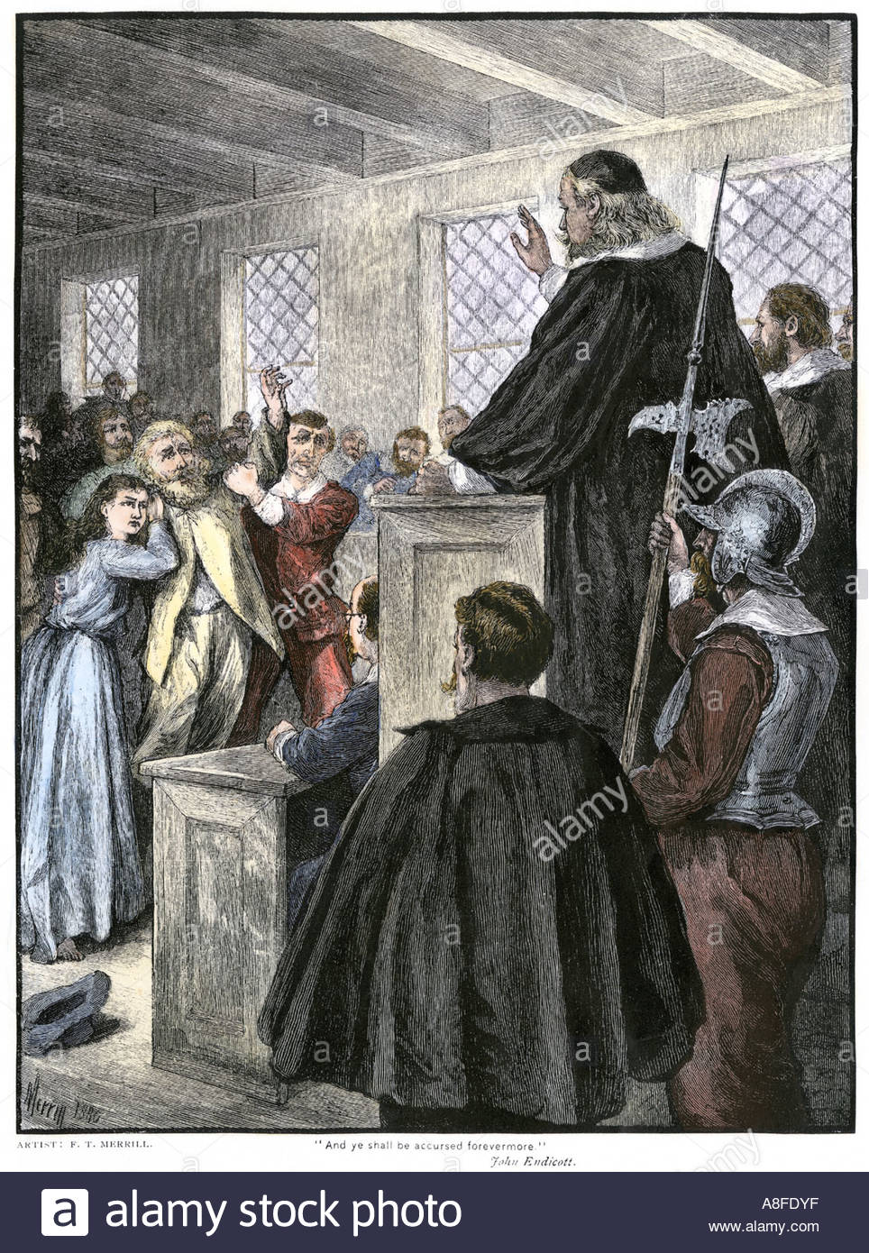 Guilty verdict pronounced at the Salem witch trials in