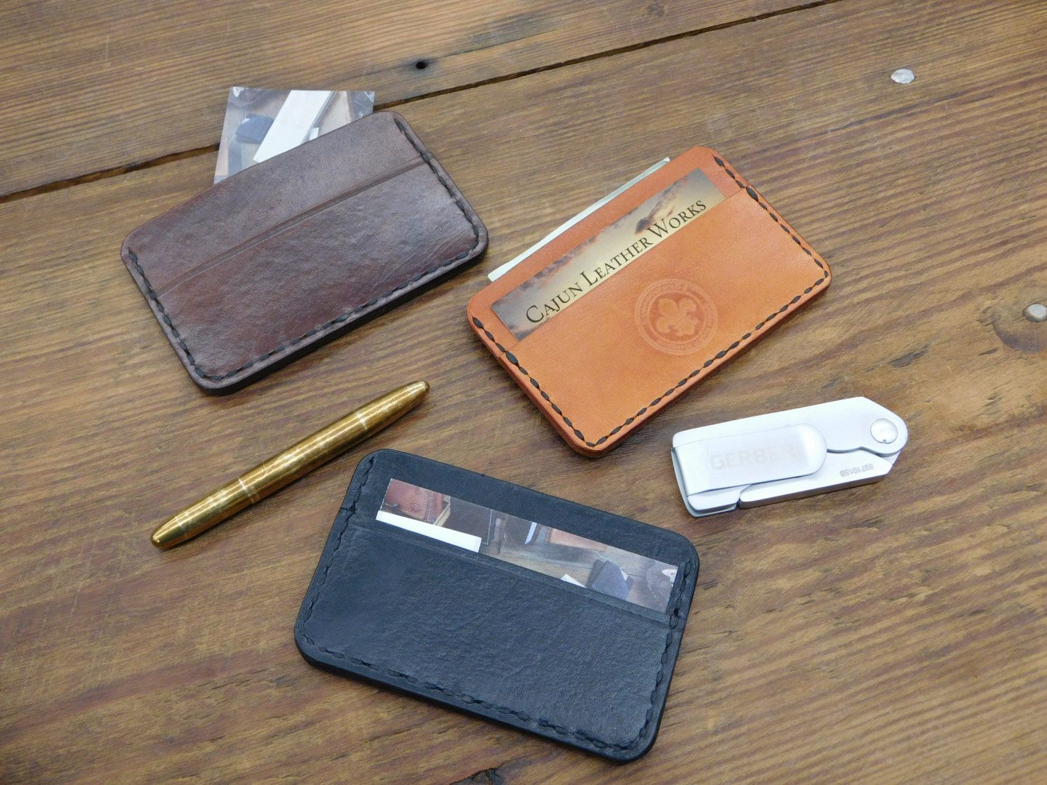 Handmade Custom Cajun Leather Works Minimalist Wallet Or Card Case Color Options Personalized Groomsmen Gift Three Pocket Wallet Made In USA by CajunLeatherWorks on Etsy