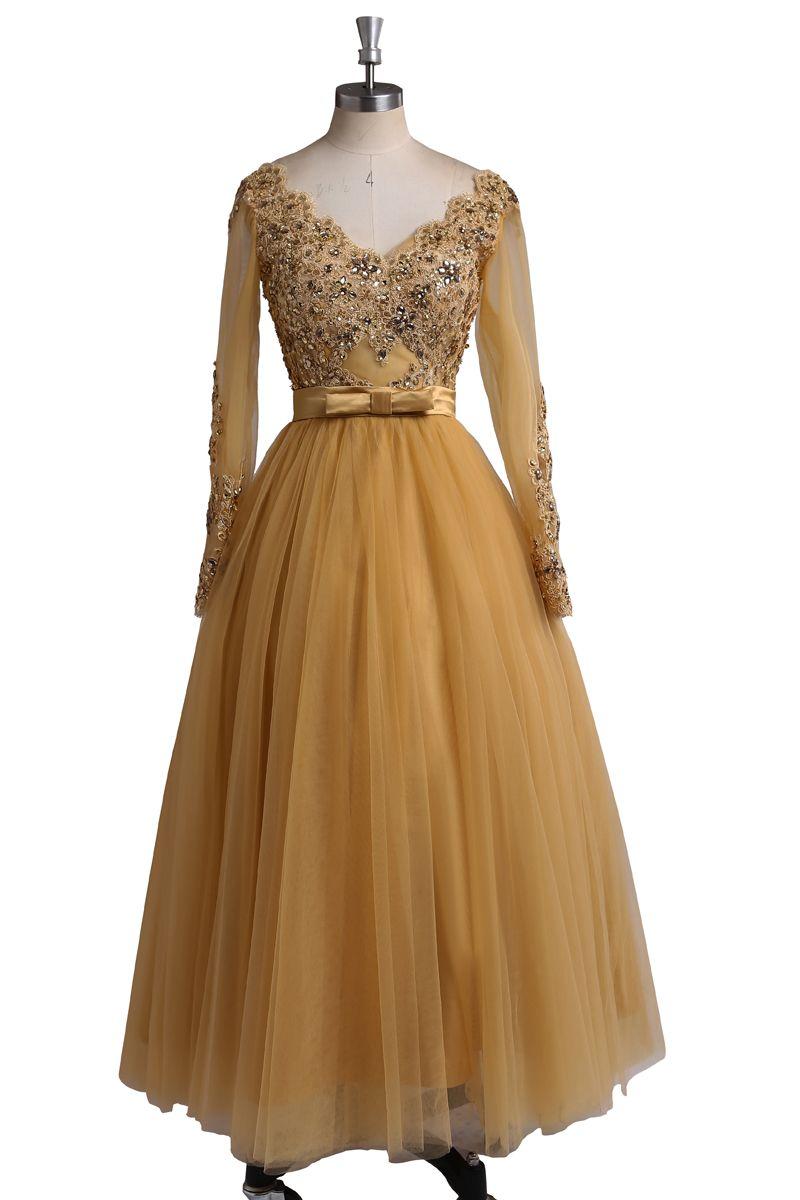 Click to buy ucuc vintage long evening dress crystal sequine v neck
