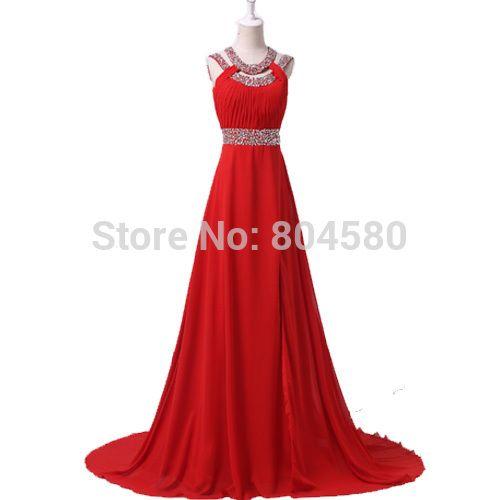 الأحمر ثوب طويل فستان السهرة الشيفون جديدة جميلة فساتين المشاهير 2015 أثواب الطرف حفلة موسيقية رسمية ل Chiffon Evening Dresses Celebrity Dresses Formal Dresses