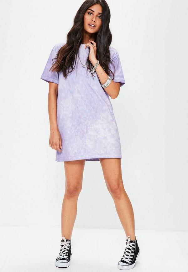 4e322ceabd27 Petite Purple Tie Dye Oversized T-Shirt Dress - Missguided | I want ...