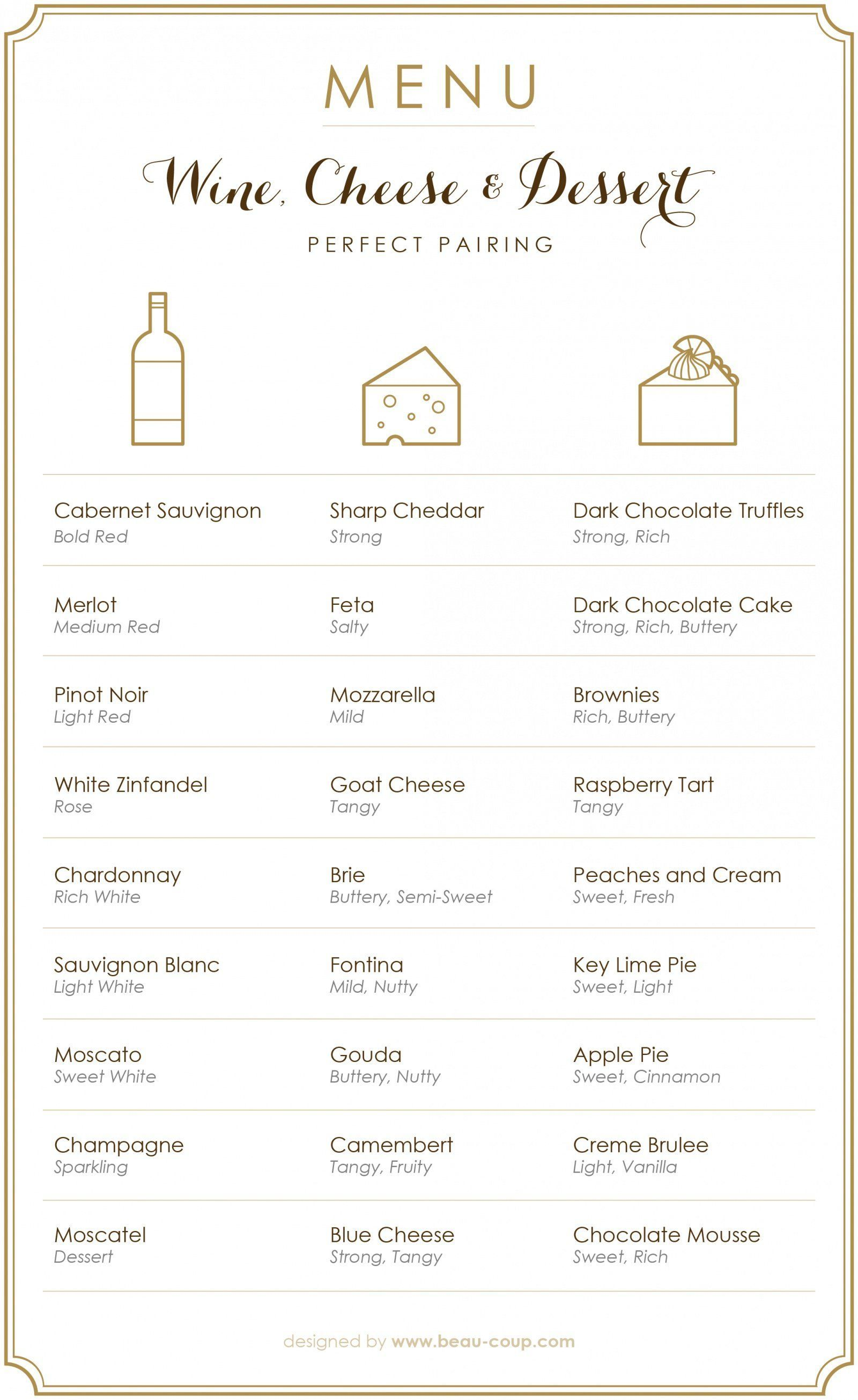 Pairings – Wine, Cheese, and Dessert Pairings To Savor If you're anything like us, then three of your favorite indulgences include wine, cheese, and dessert. Lucky for all of us, pairing the three is considered a norm because of how they can compliment one another. Check out our sample menu to find the perfect pairings!If you're a...