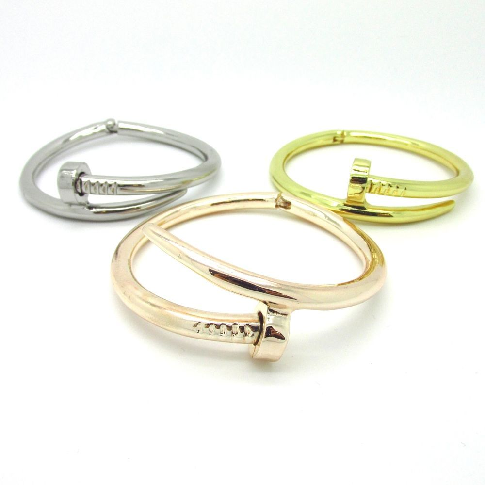 bangle nail products white gold bracelet yellow all head with hea shiny clasp