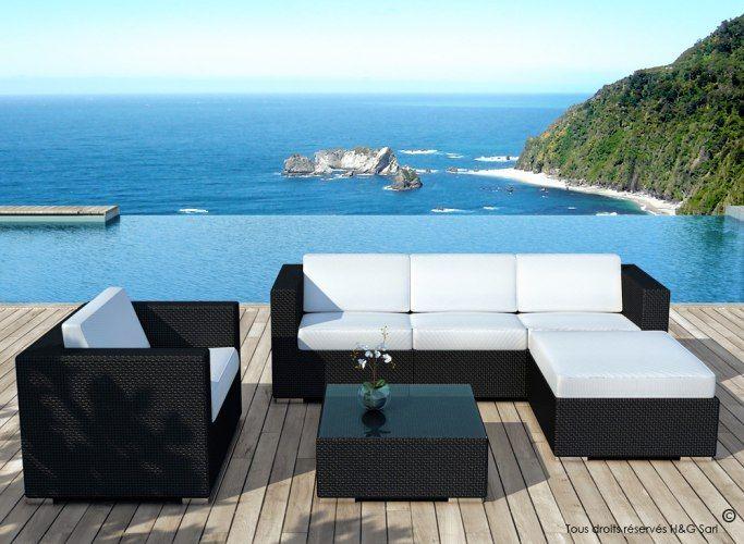 Salon de jardin en résine tressée noire MIAMI : #Confort et qualité ...