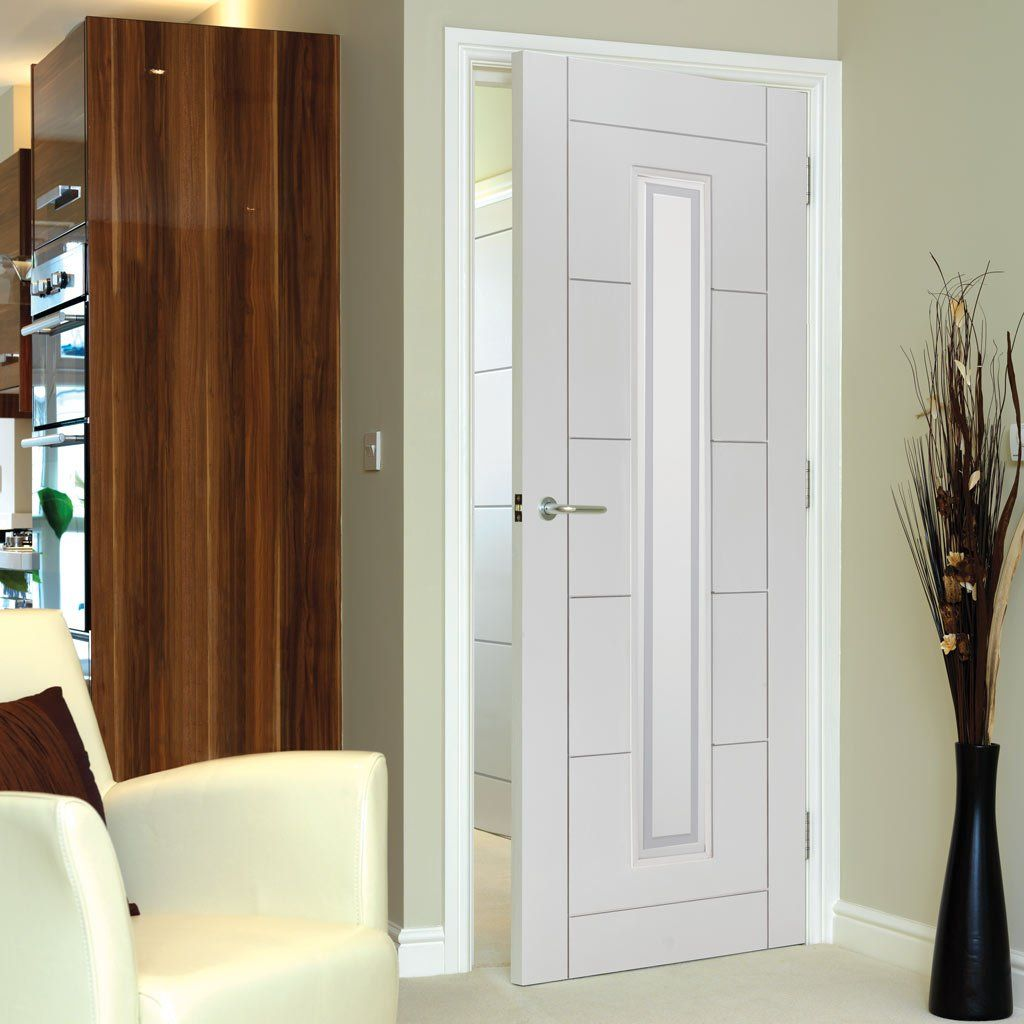 Fire rated glass office doors - Jb Kind Limelight Barbican Door White Primed Flush 1 2 Hour Fire Rated Door With Pyrodur Glass