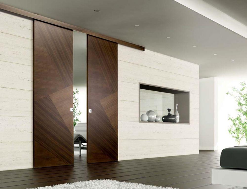 Porta scorrevole in legno porta con sistema scorrevole a soffitto