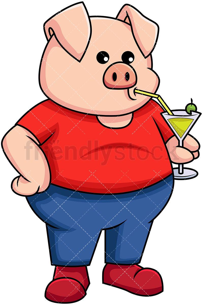 Pig Holding A Cold Drink Vector Cartoon Clipart Friendlystock Cartoon Clip Art Cartoon Animals Cartoon
