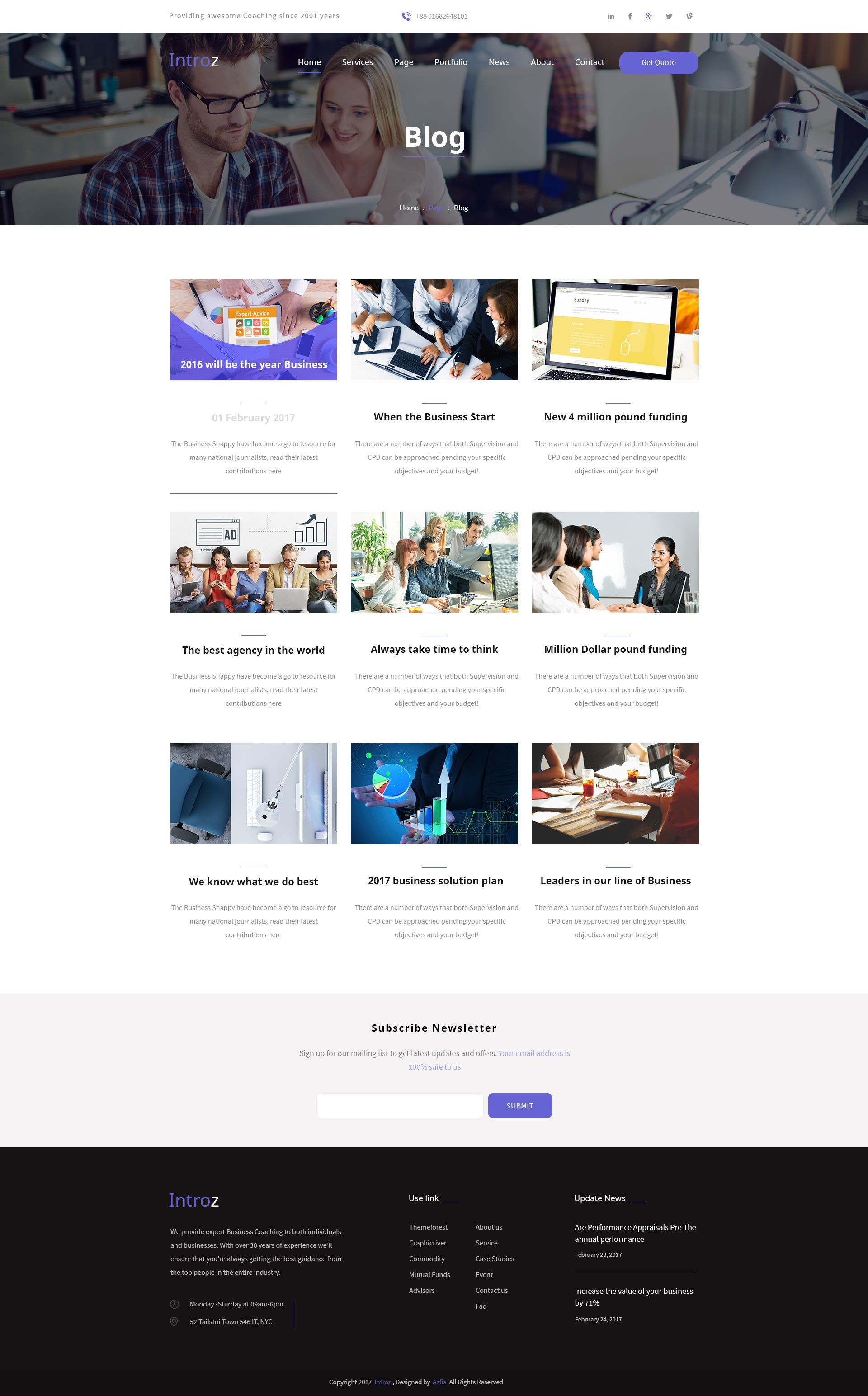 Introz - Training,Coaching Business PSD Template   Business