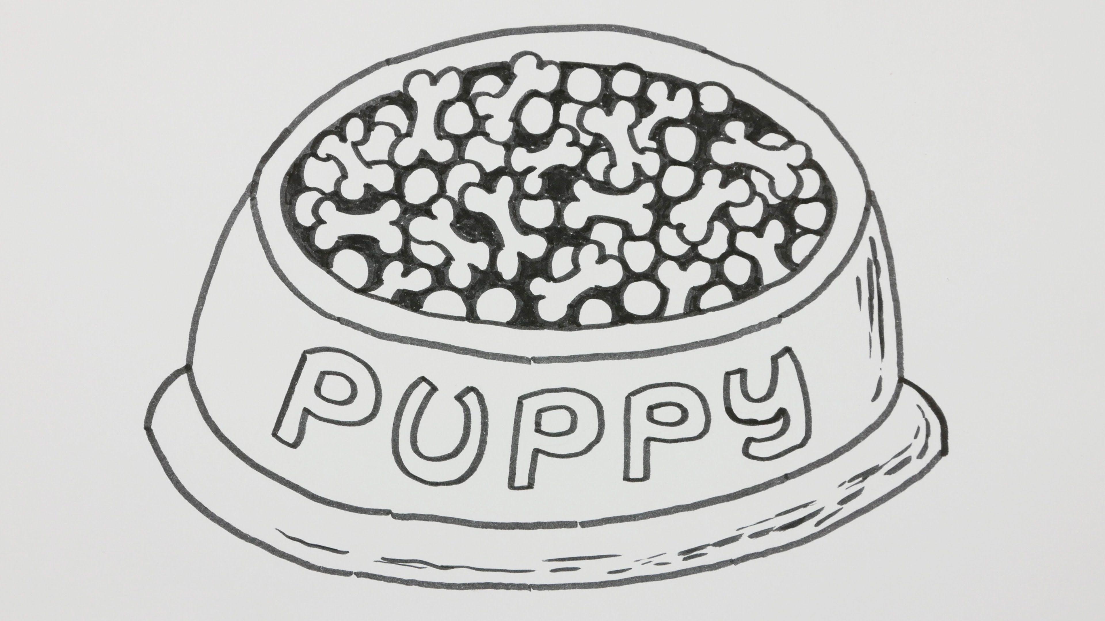 How To Draw A Dog Food Bowl Dog Feeding Dish Cartoon Comic