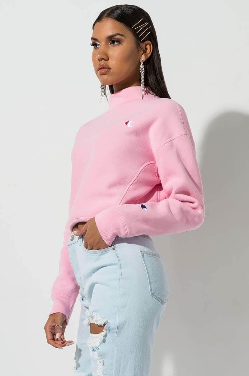 Champion Women S Reverse Weave Mock Neck Cropped Sweatshirt Ropa Estilo Buzo [ 1209 x 800 Pixel ]