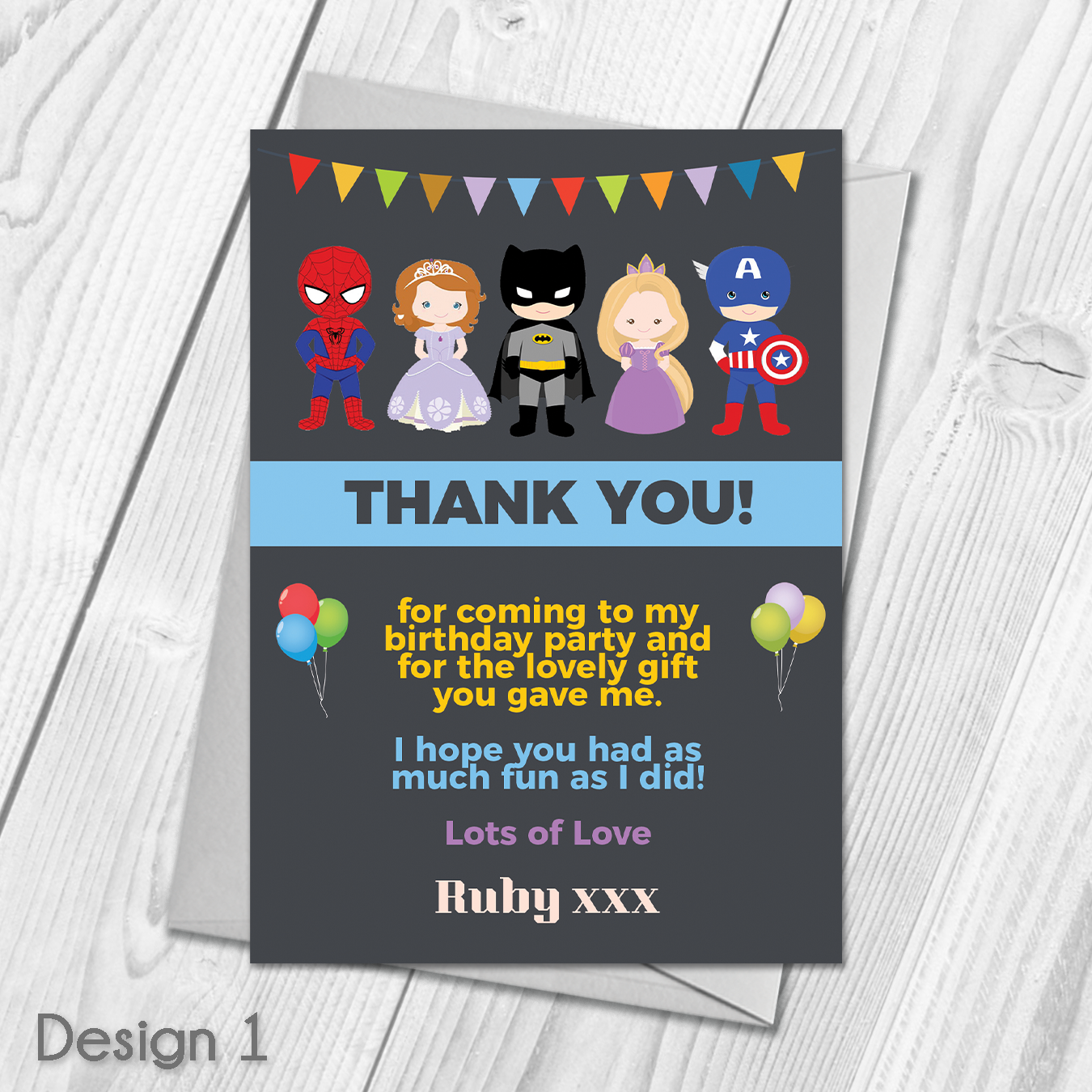 Personalised Fairytale Princess Birthday Party Thank You Cards inc envelopes