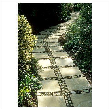 Paving slab path with concrete pavers infilled with pebbles cobbles stones diy pinterest - Slab pathway design ideas ...