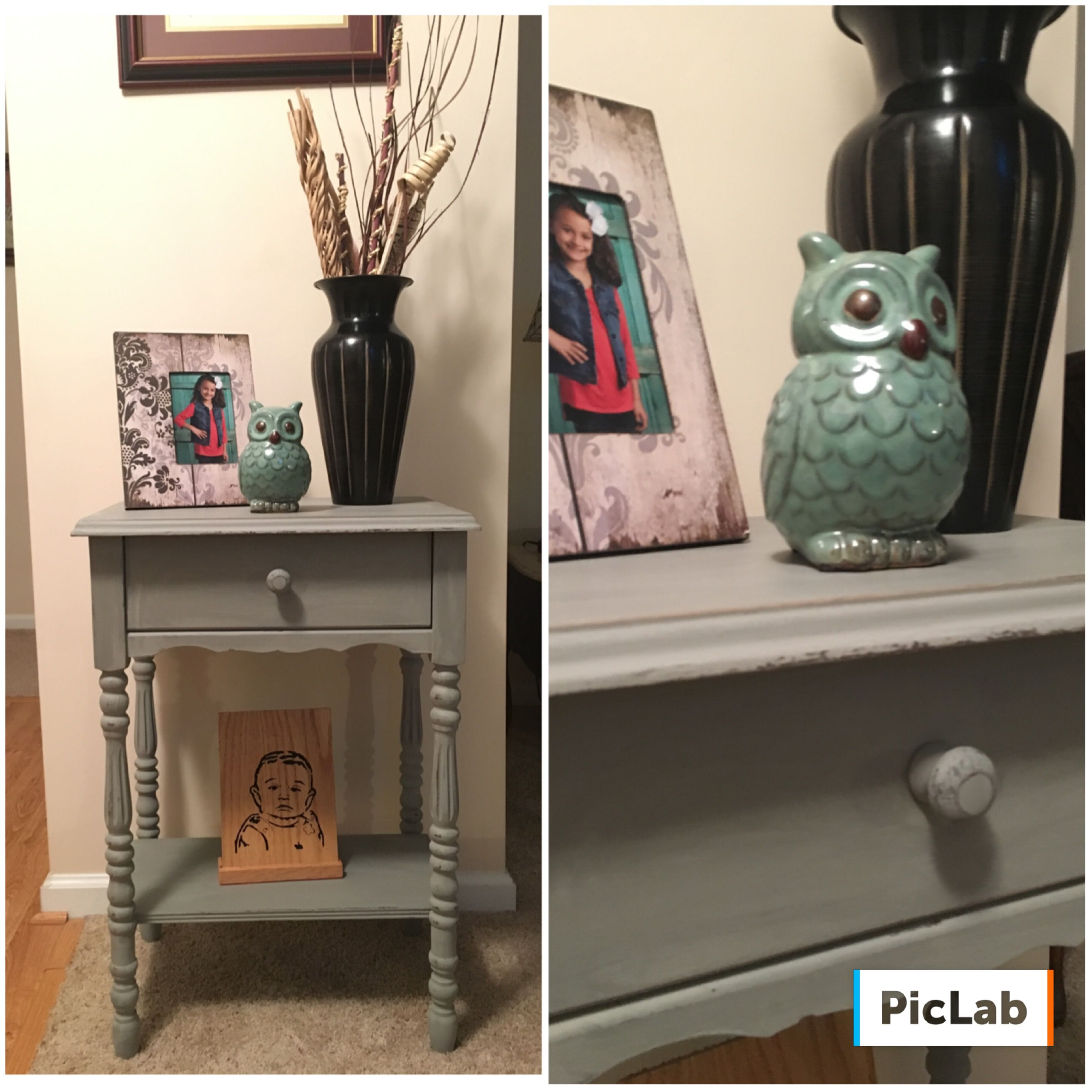 Antique Table Painted With Rustoleum Country Gray Chalk Paint Distressed Then Clear Waxed Super Easy Sat Painted Table Rustoleum Chalk Paint Gray Chalk Paint