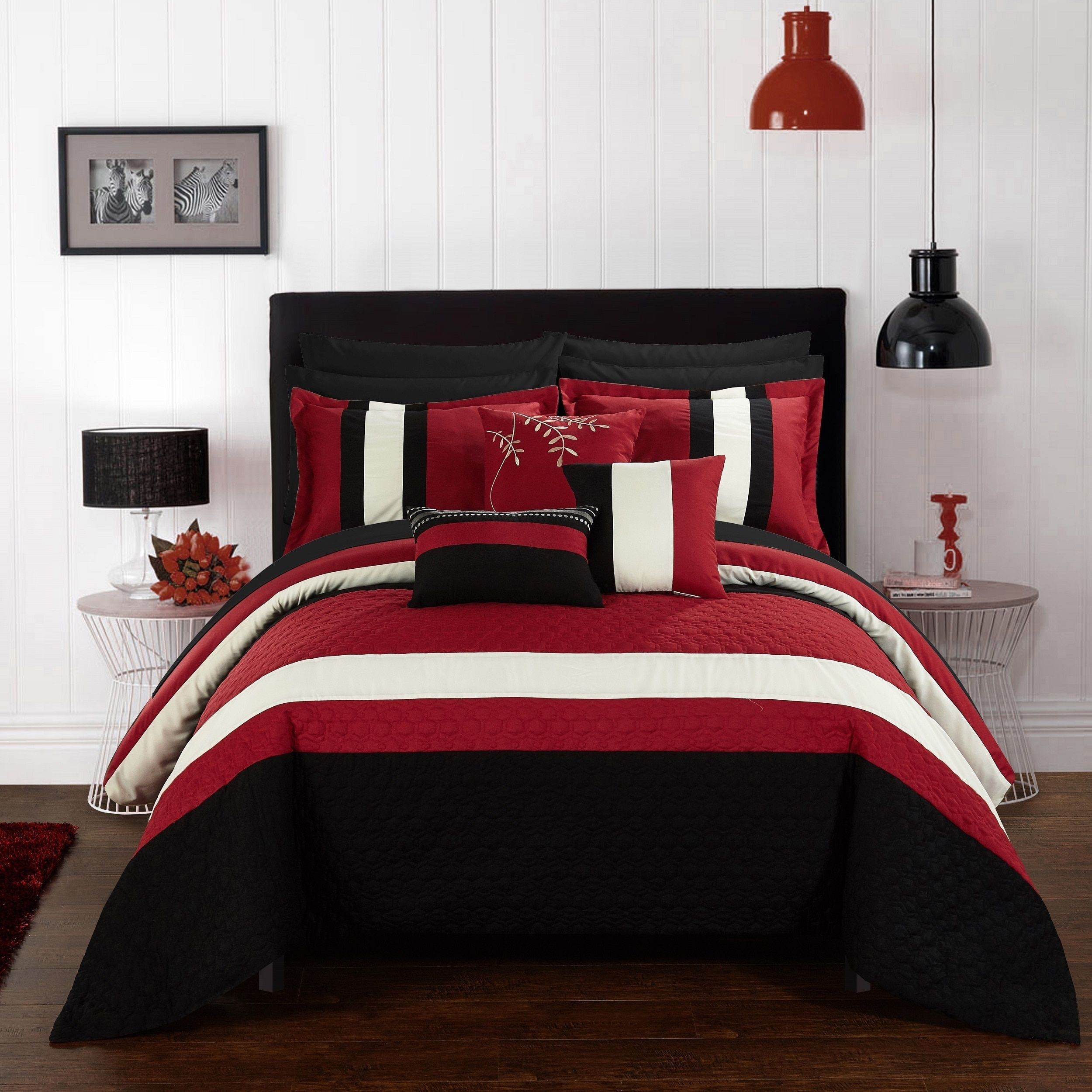black red and set bath sets comforter bed piece queen white beyond velvet walmart damask