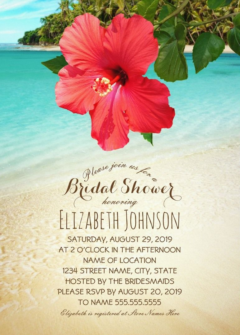 Tropical Beach Bridal Shower Invitations - Red Hibiscus Flower ...