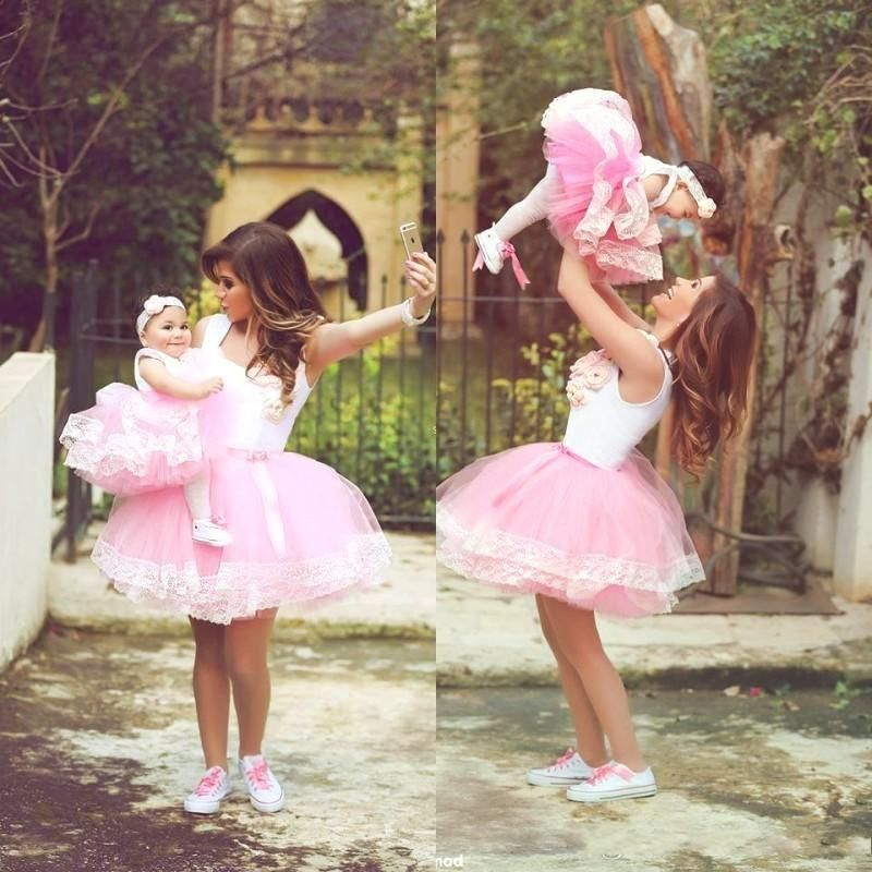 37ca7facee 2015 Lovely Mother And Daughter Tutu Dresses Short Ball Gown Pink ...
