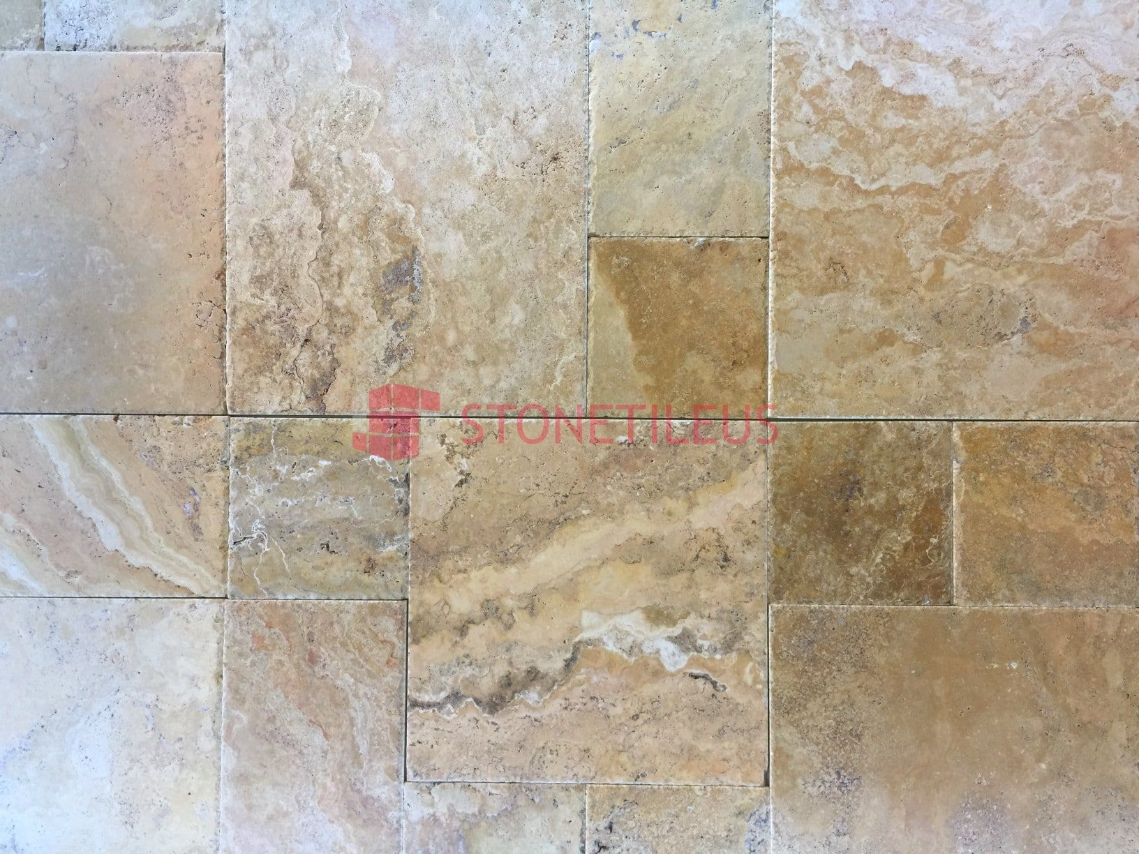 Gold Brushed Chiseled French Pattern Travertine Tiles, Great For Indoor Or Outdoor  Use, And