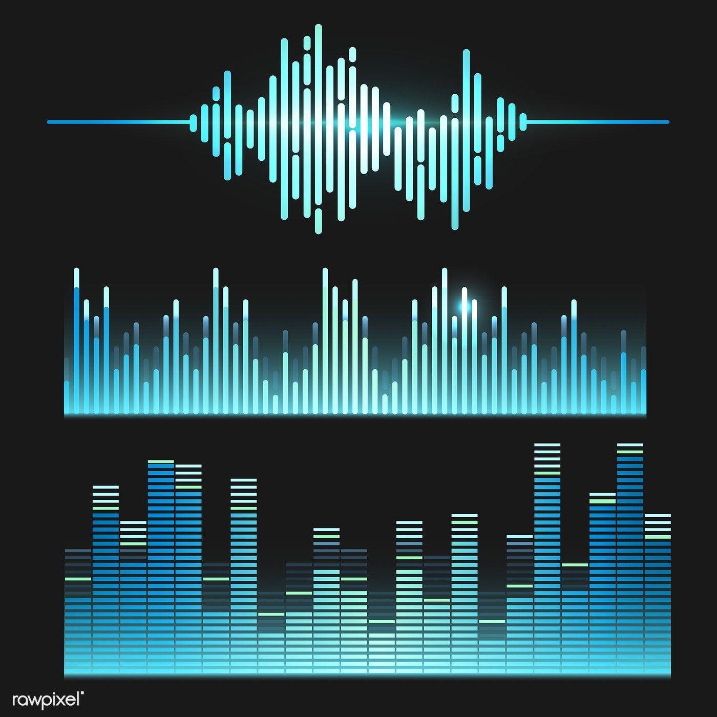 Sound wave equalizer vector design set | free image by