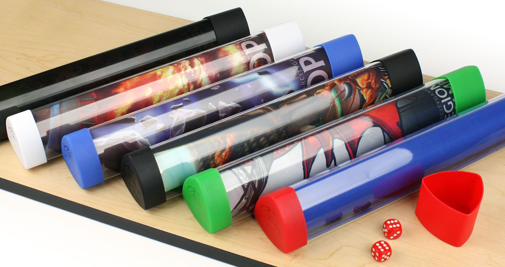 Red 1 Tube Playmat Tube with Dice Cap