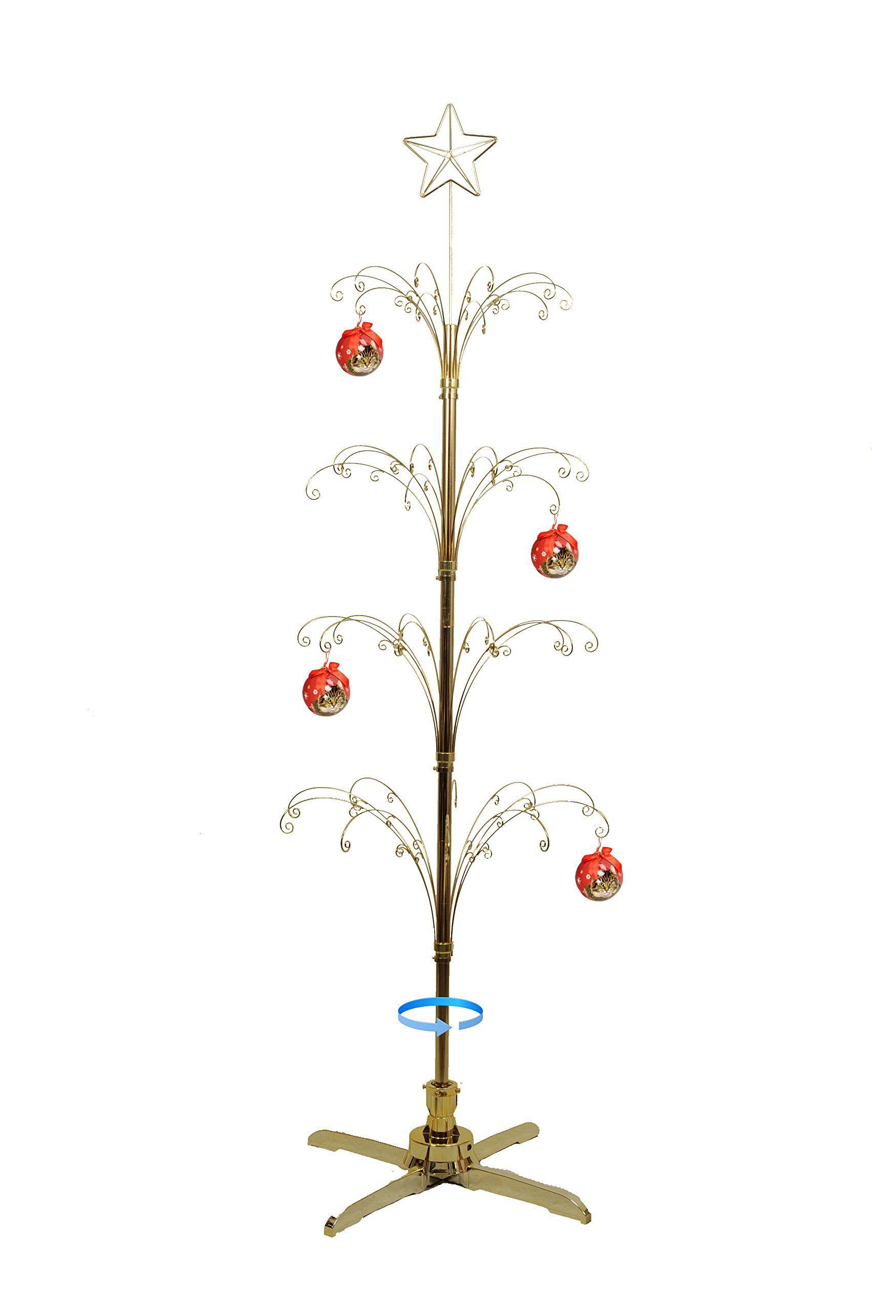 Hohiya Metal Ornament Display Tree Rotating Stand Christmas Ball