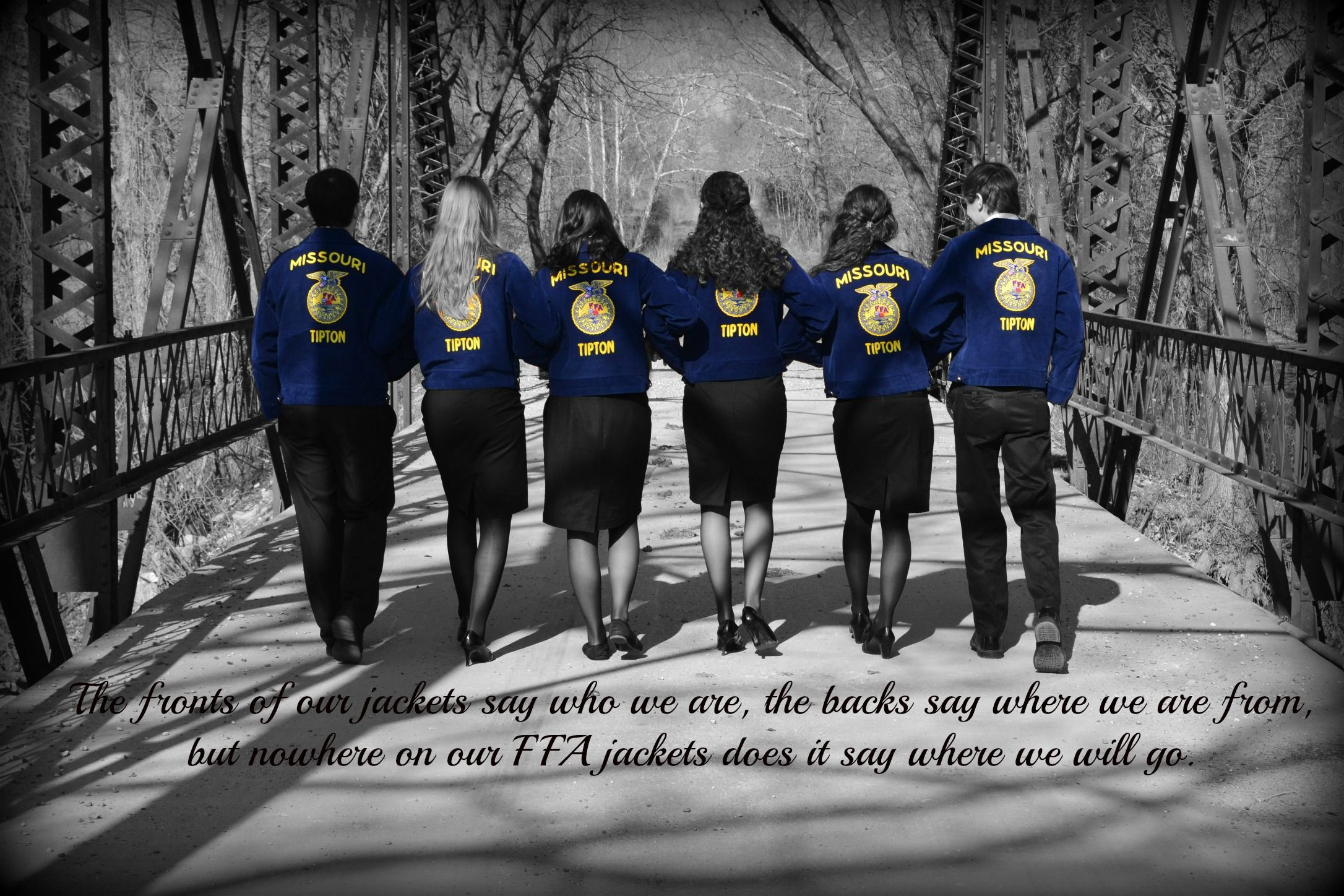 Our Senior Ffa Officer Picture The Quote Says The Fronts Of Our Jackets Say Who We Are The Backs Say Where We Are From Ffa Jacket Ffa Girl Senior Pictures