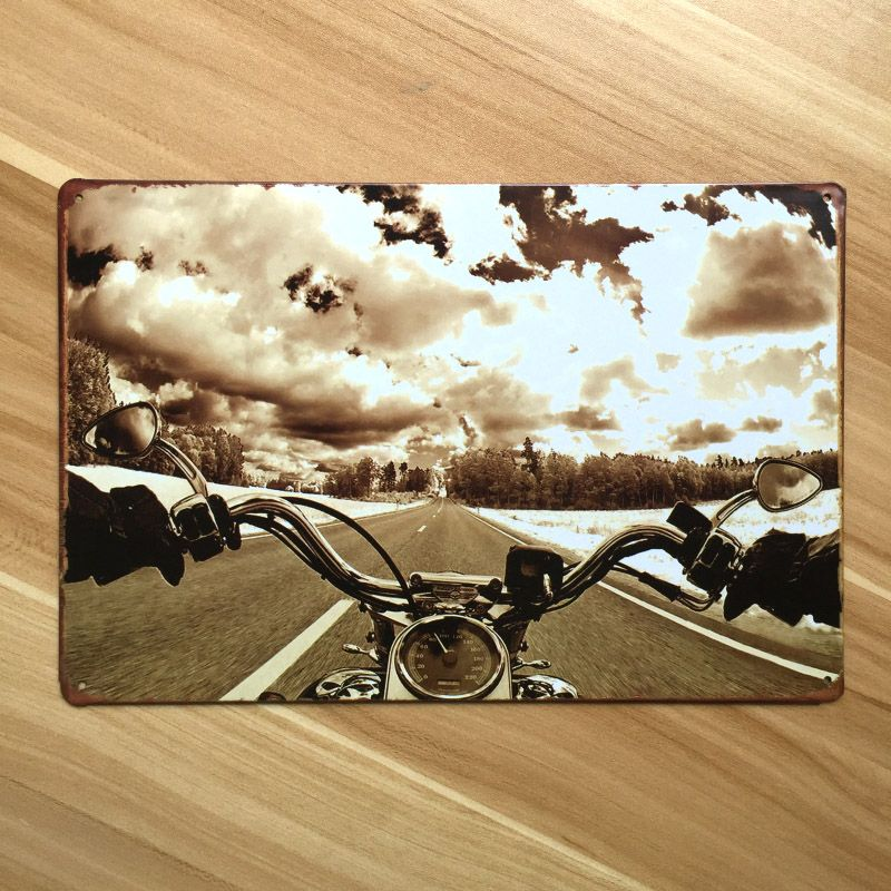 Vintage Plaques Plate Motorcycle On Road Metal Painting Iron Garage Poster Wall  Art Decor Retro Decoration