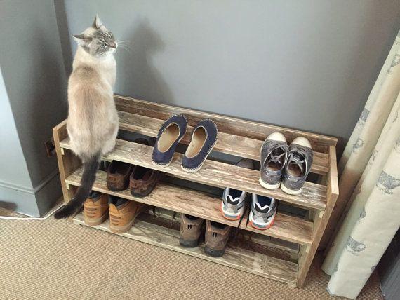 Étagère à chaussures bois palettes récupérées à la main meubles