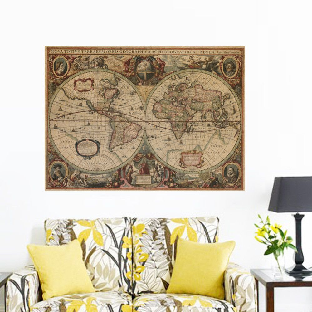 Vintage nautical retro paper world map poster wall chart home vintage nautical retro paper world map poster wall chart home decoration wall sticker decals globe old gumiabroncs Image collections