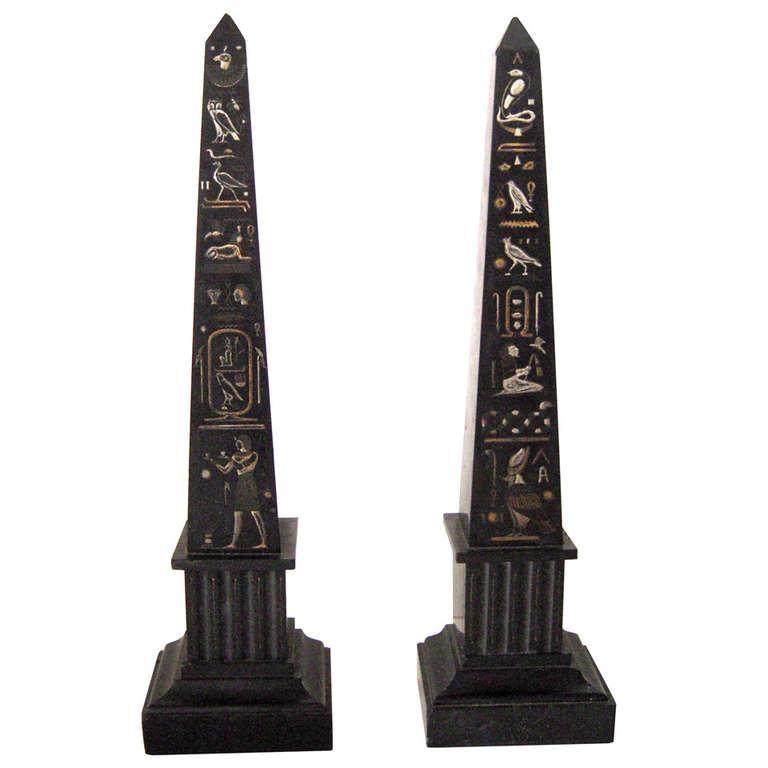 Pair Of 19th Century Egyptian Revival Slate Obelisks Egyptian Obelisk Revival