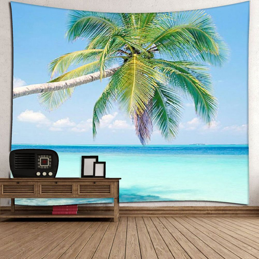 coconut palm pattern wall hanging microfiber tapestry | decorative