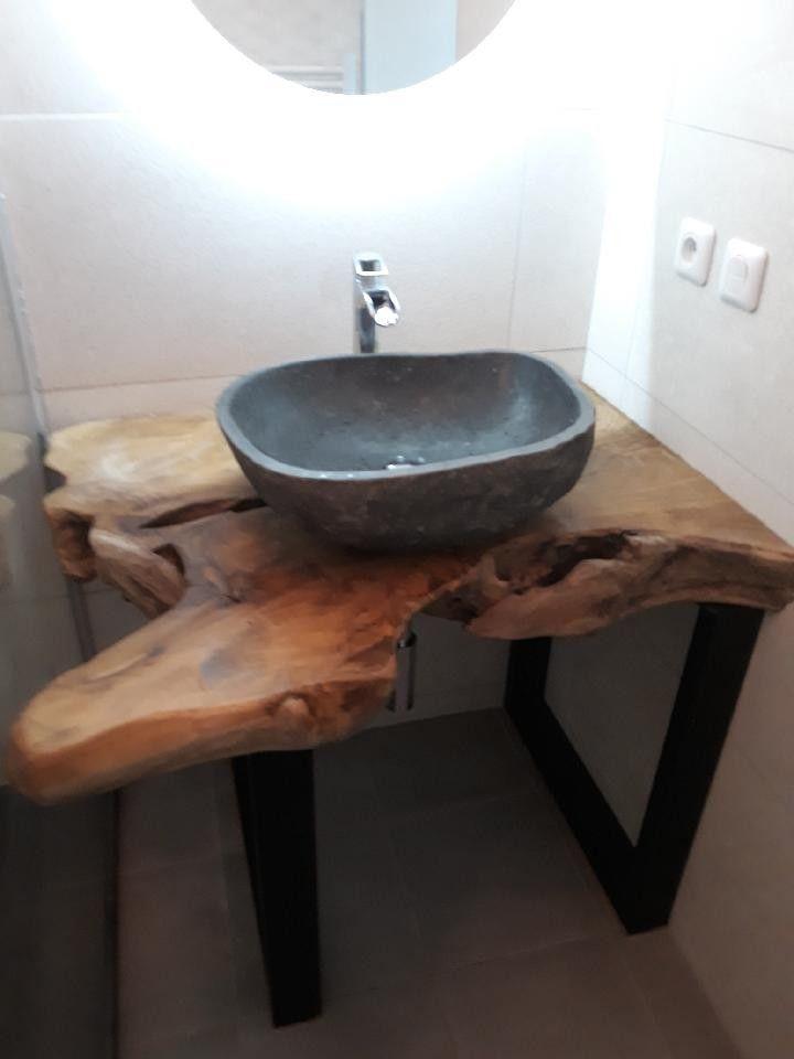vasque galet Chez client du 06 - Tranche de racine de teck et vasque galet