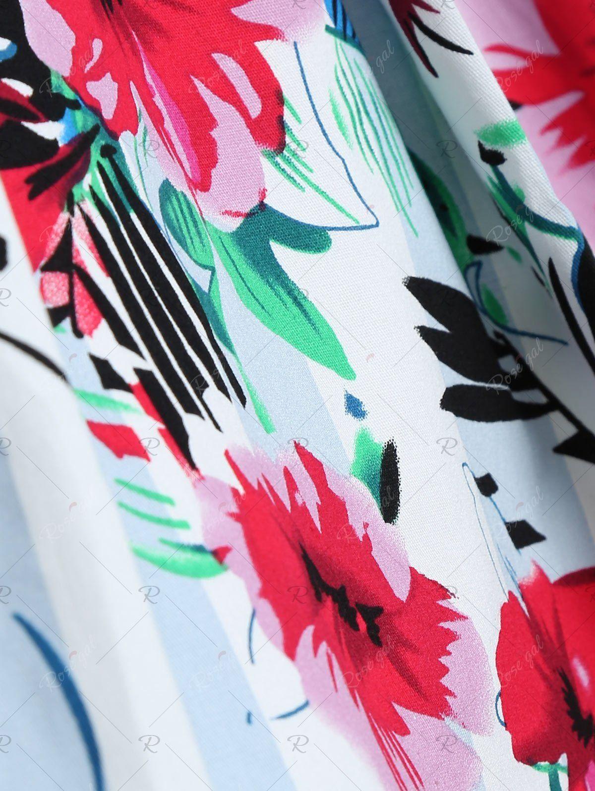 Flamingo Stripe Print A Line Dress 6