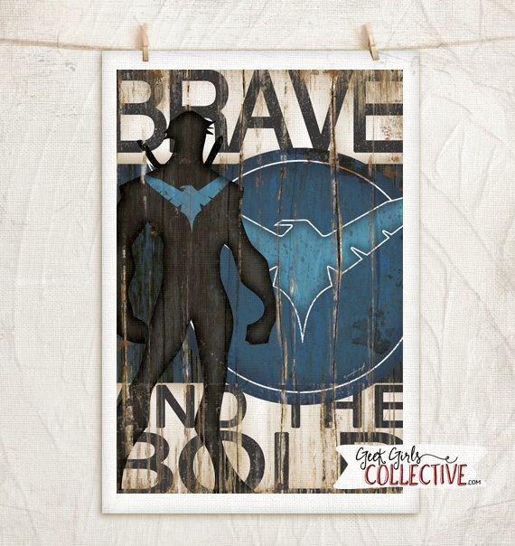 Nightwing Art Print Comic Vintage Home Wall Decor Superhero Marvel Dc Comics Collectors Blue Black White